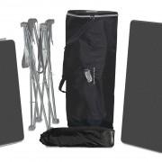 Das Standardpaket Expolinc Soft Image-Theke enthält ein Gestell sowie Thekenplatte, Einlegeboden, Schutzhülle für die Grafik und Tasche.